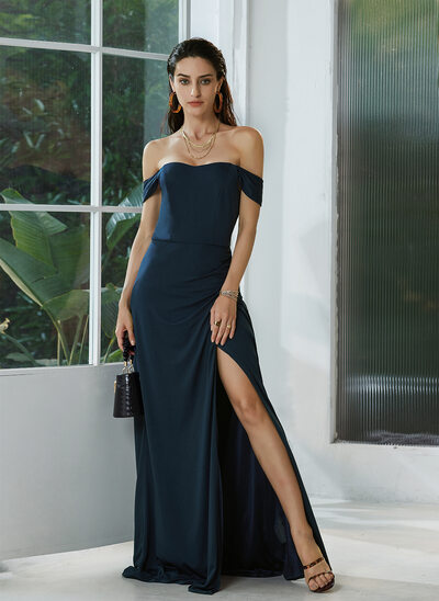 A-Line Off-the-Shoulder Floor-Length Prom Dresses With Ruffle