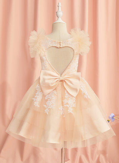A-Line Knee-length Flower Girl Dress - Tulle Short Sleeves Scoop Neck With Lace/Beading