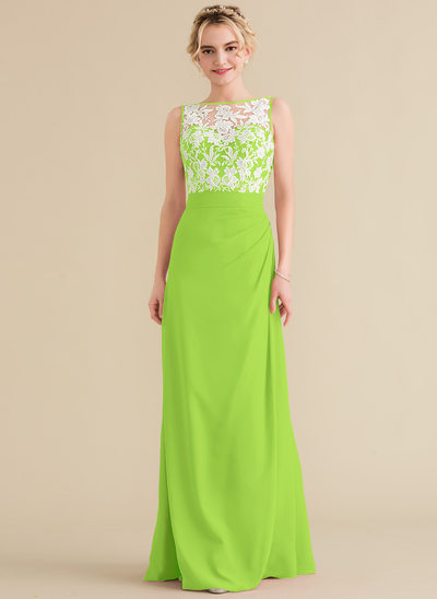 A-Line/Princess Scoop Neck Floor-Length Chiffon Lace Evening Dress With Ruffle