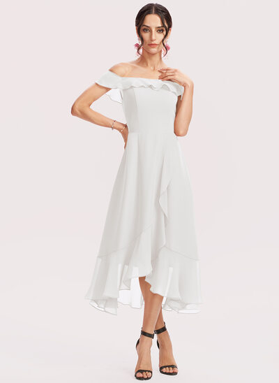 A-Line Off-the-Shoulder Tea-Length Cocktail Dress With Cascading Ruffles