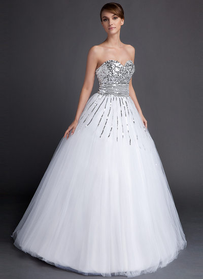 Ball-Gown Sweetheart Floor-Length Tulle Sequined Quinceanera Dress