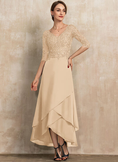 A-Line V-neck Asymmetrical Chiffon Lace Evening Dress With Beading Sequins