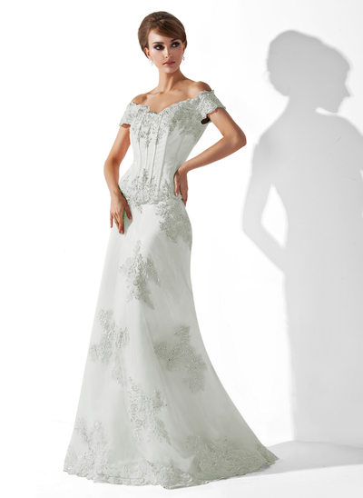 Trumpet/Mermaid Off-the-Shoulder Floor-Length Tulle Mother of the Bride Dress With Beading Appliques Lace