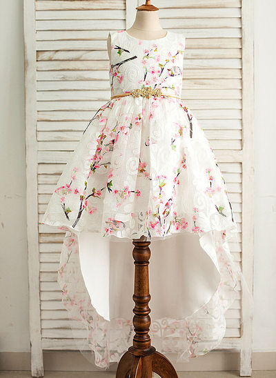 A-Line/Princess Asymmetrical Flower Girl Dress - Satin/Tulle Sleeveless Scoop Neck