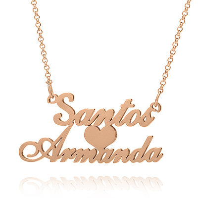 Christmas Gifts For Her - Custom 18k Rose Gold Plated Silver Two Name Necklace With Heart