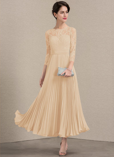 A-Line Scoop Neck Ankle-Length Chiffon Lace Evening Dress With Pleated