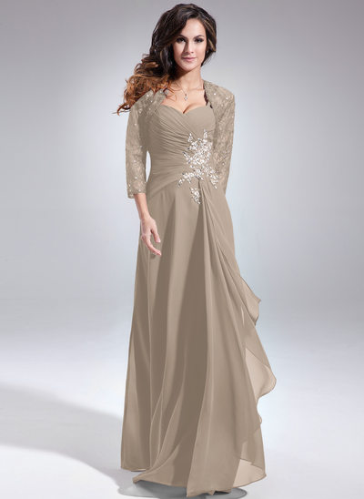 A-Line/Princess Sweetheart Floor-Length Chiffon Mother of the Bride Dress With Beading Sequins Cascading Ruffles