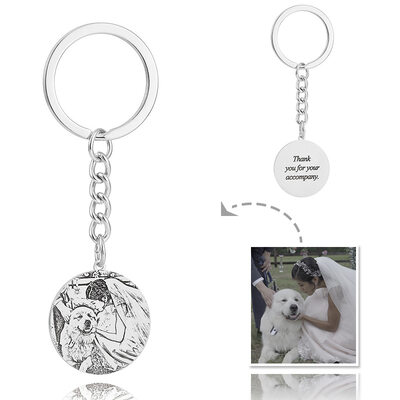 Groom Gifts - Personalized Custom Engraved Photo Engraved Black And White Platinum Plated Sterling Silver Keychain