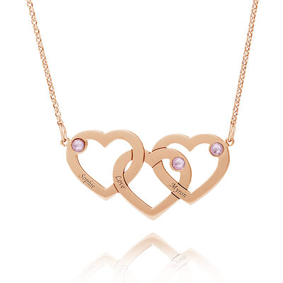 Custom 18k Rose Gold Plated Silver Heart Family Couple Overlapping Three Heart Necklace Engraved Necklace With Kids Names Birthstone - Valentines Gifts
