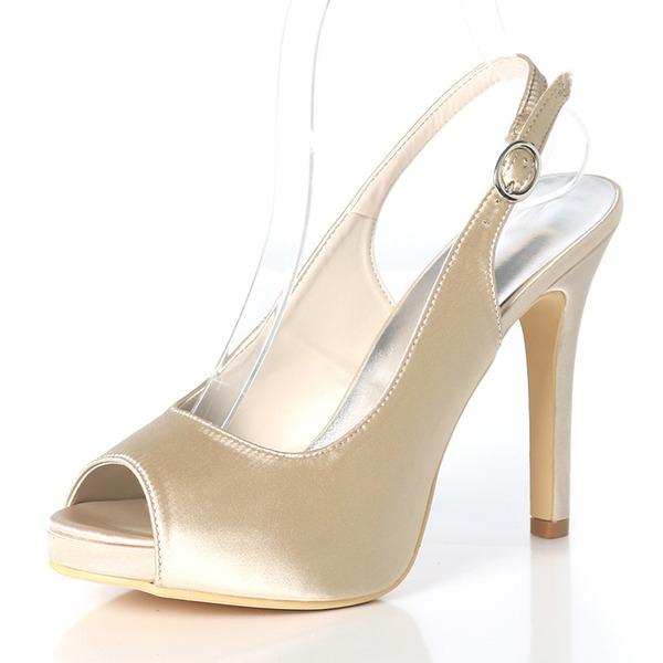 Mulheres como o cetim de seda Salto agulha Peep toe Plataforma Bombas Sandálias Sapatos abertos com Fivela
