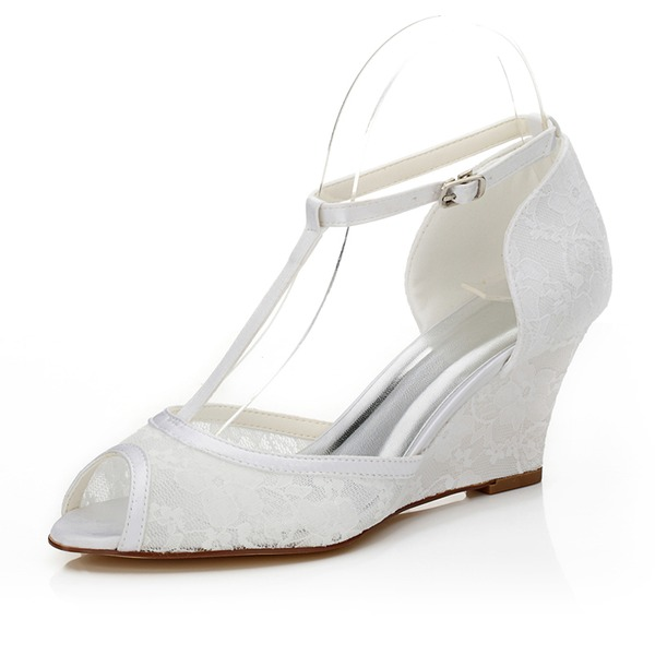 Women's Lace Wedge Heel Peep Toe Sandals