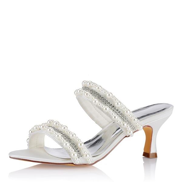 Women's Silk Like Satin Low Heel Peep Toe With Pearl