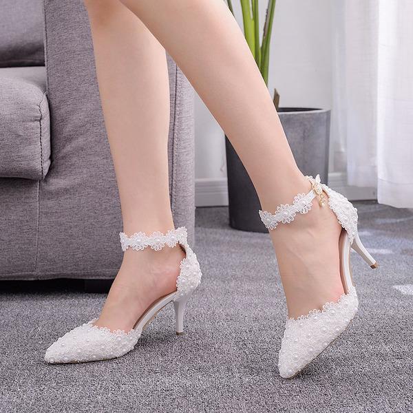 Kids' Leatherette Stiletto Heel Closed Toe Pumps Sandals MaryJane With Imitation Pearl Flower