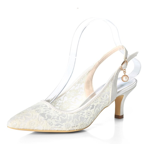 Women's Lace Stiletto Heel Pumps With Buckle