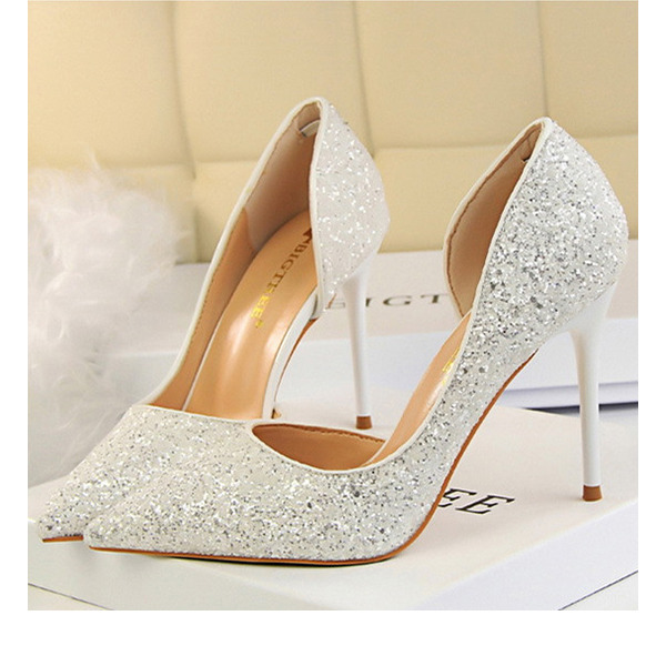 Women's Sparkling Glitter Stiletto Heel Closed Toe Pumps With Others