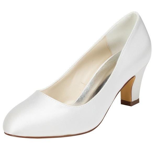 Women's Satin Chunky Heel Closed Toe Pumps With Others