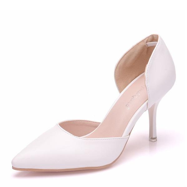 Women's Leatherette Spool Heel Closed Toe Pumps Sandals