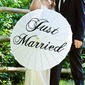 Simple Bride And Groom High quality paper/Wooden Wedding Umbrellas With Print