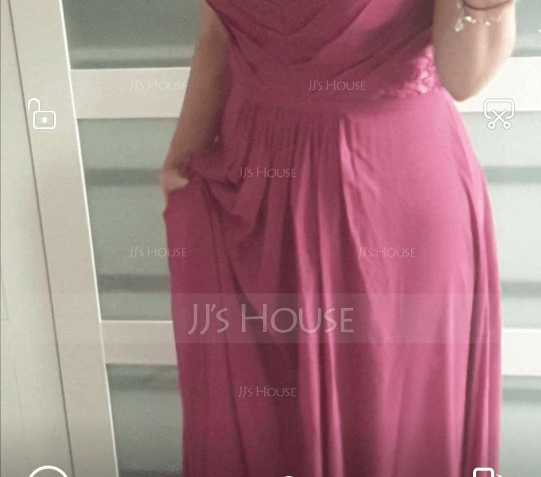 エンパイア Vネック マキシレングス シフォン ブライドメイドドレス とともに カスケードフリル