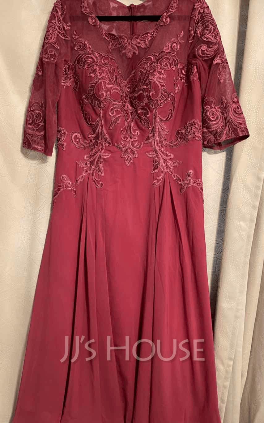 Round Neck 1/2 Sleeves Midi Dresses (293252118)