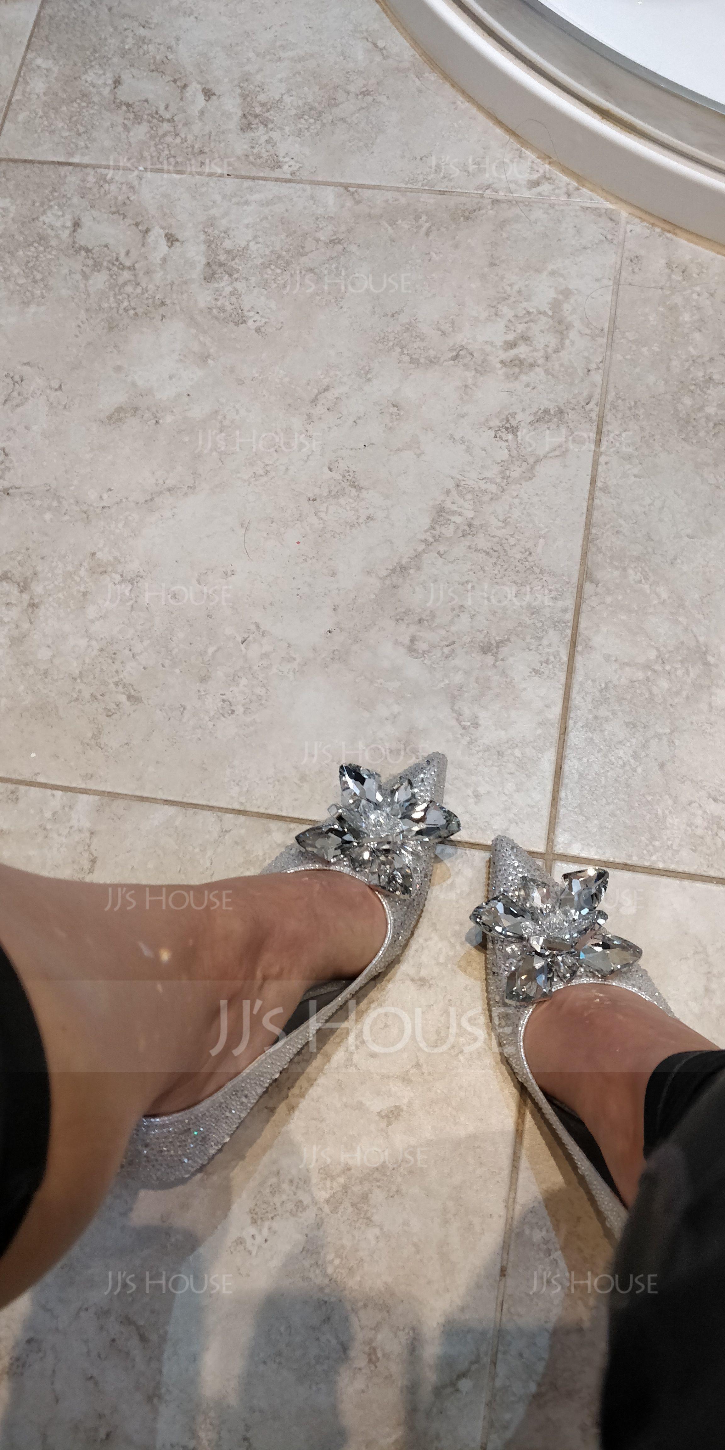 Women's Leatherette Stiletto Heel Closed Toe Pumps With Rhinestone Crystal (047064120)