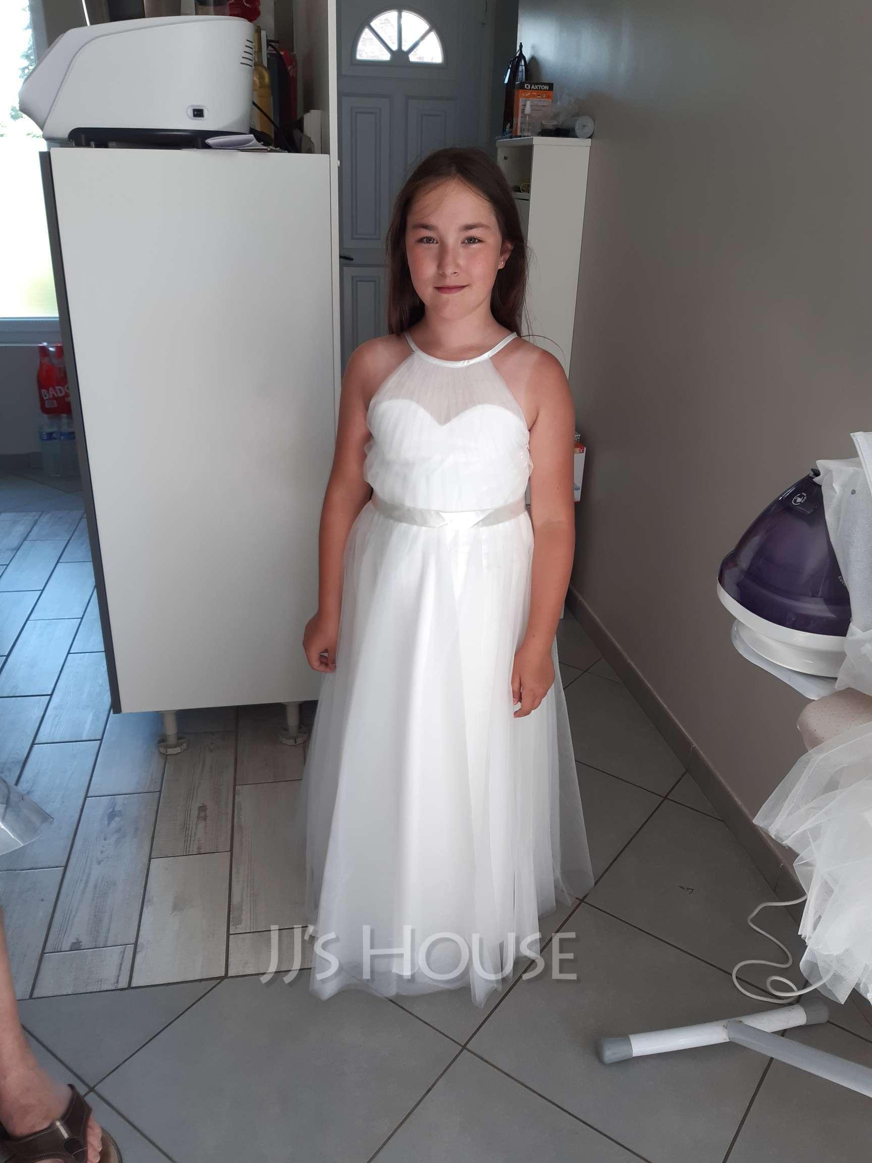 Forme Princesse Longueur genou Robes à Fleurs pour Filles - Tulle/Charmeuse Sans manches Dos nu avec Trou noir