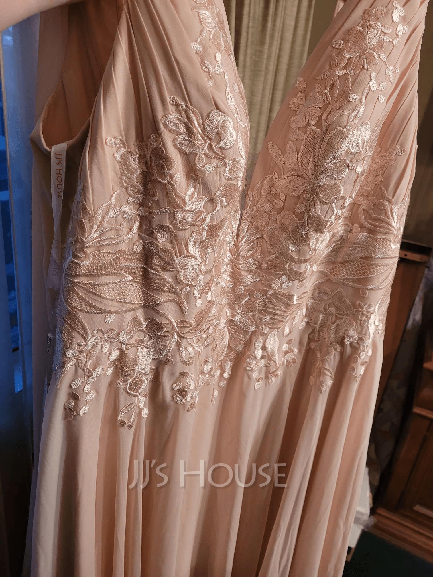Corte A Escote en V Hasta el suelo Gasa Vestido de novia con Lentejuelas