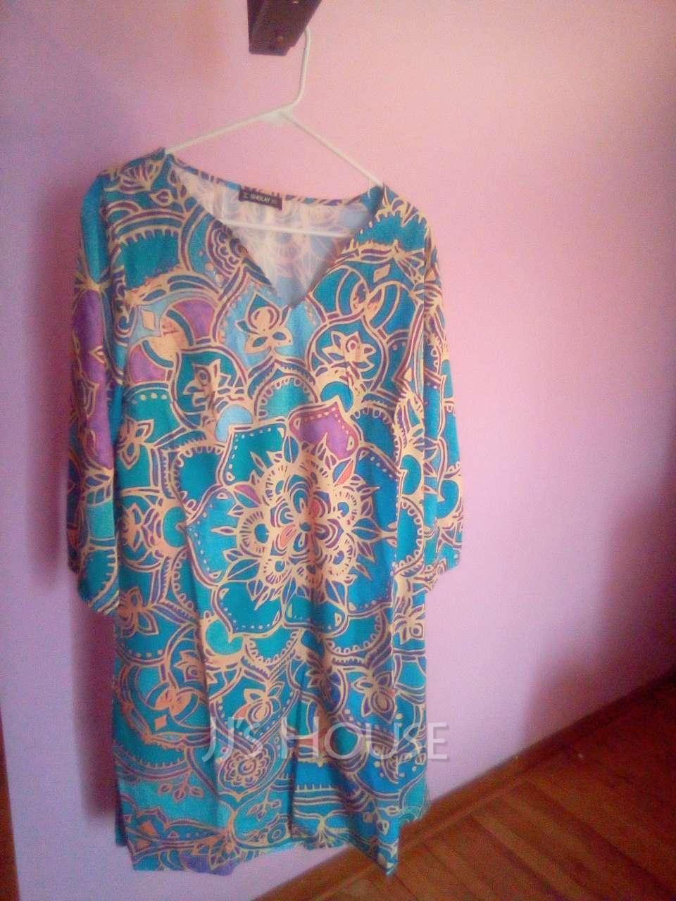 Print Shift V-Neck 1/2 Sleeves Midi Casual Vacation Tunic Dresses (294254157)