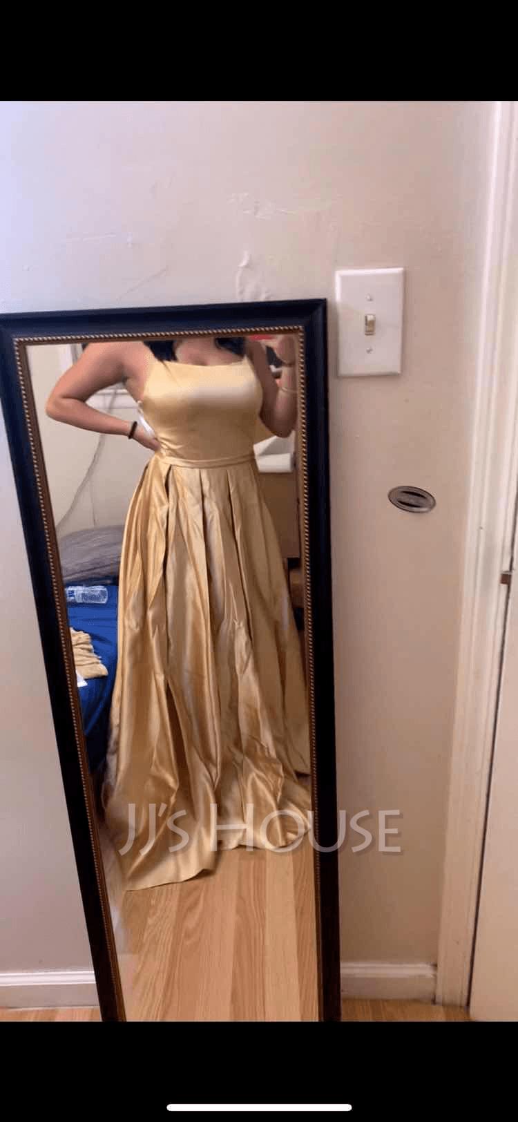 A-Line Square Neckline Floor-Length Satin Evening Dress With Split Front Pockets