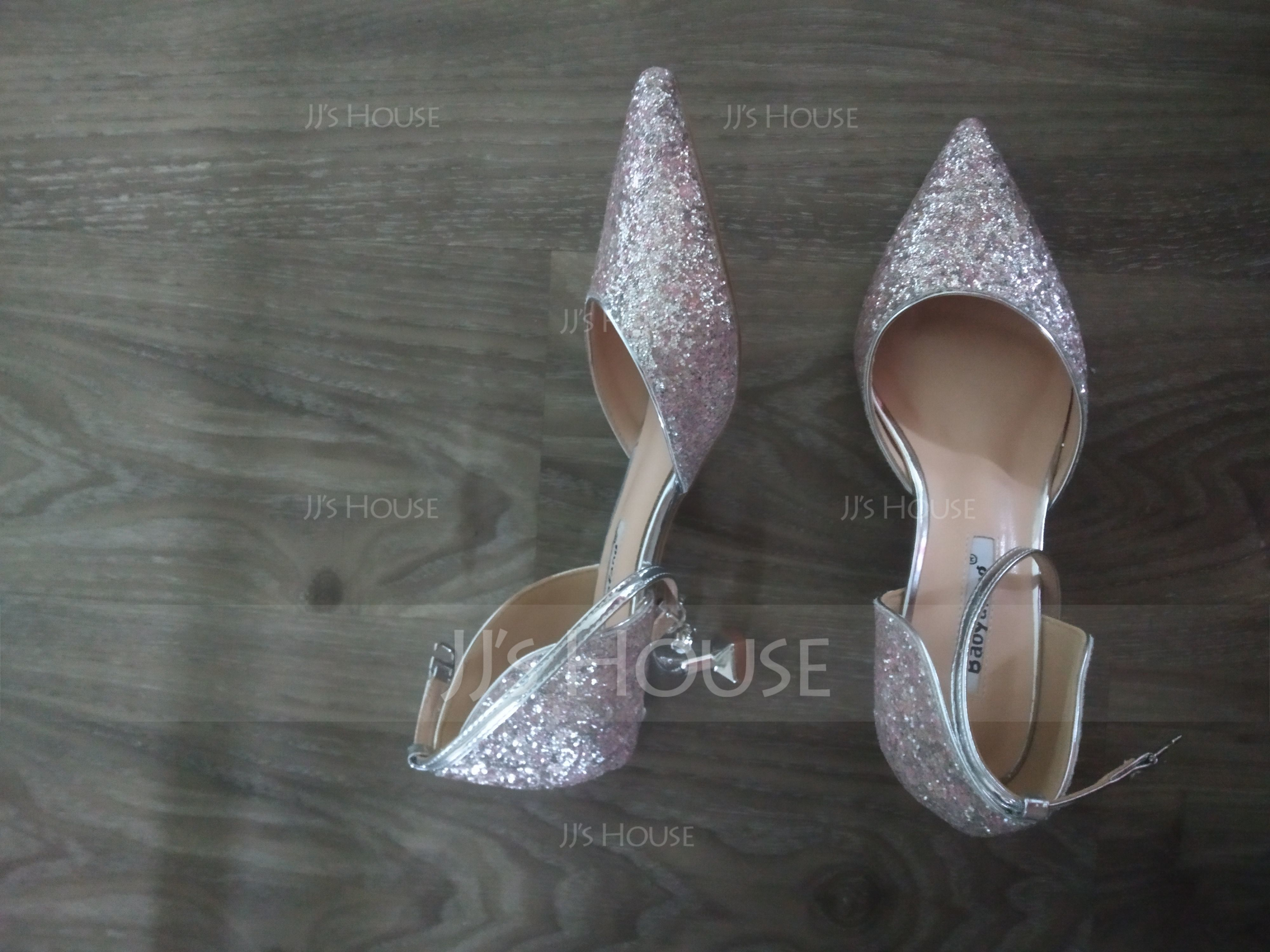 Women's Sparkling Glitter Kitten Heel Closed Toe Pumps With Sparkling Glitter (047190323)