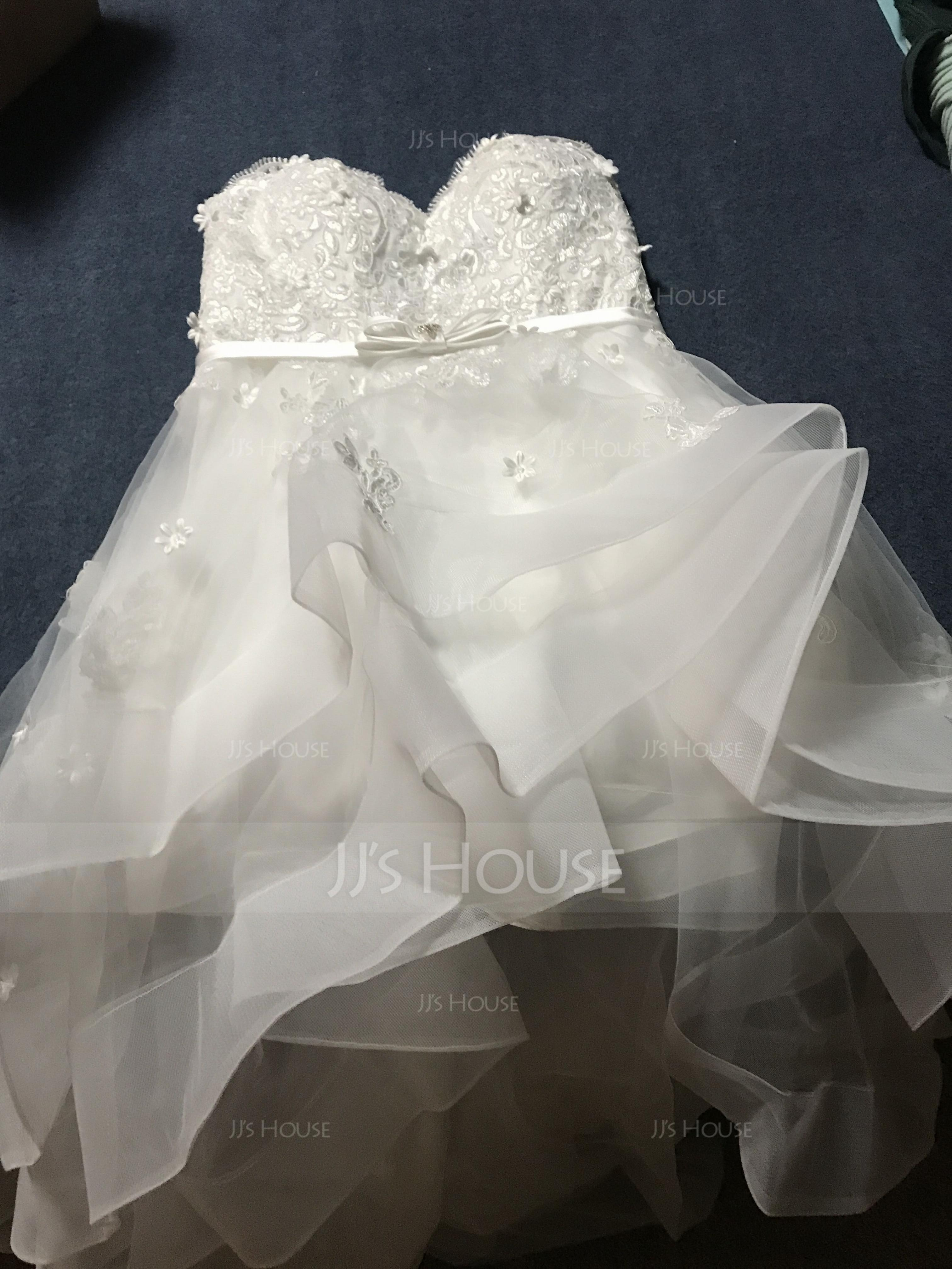 A-Line Sweetheart Asymmetrical Tulle Wedding Dress With Beading Bow(s) (002067242)