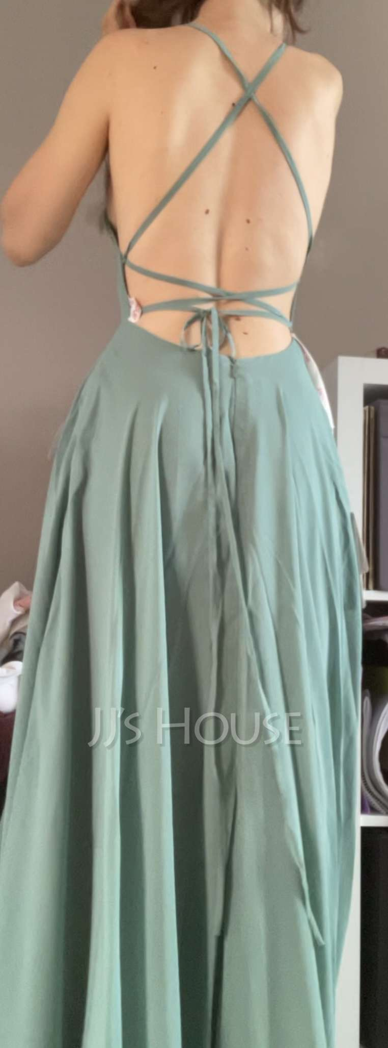 A-Line Square Neckline Floor-Length Chiffon Bridesmaid Dress With Split Front Pockets