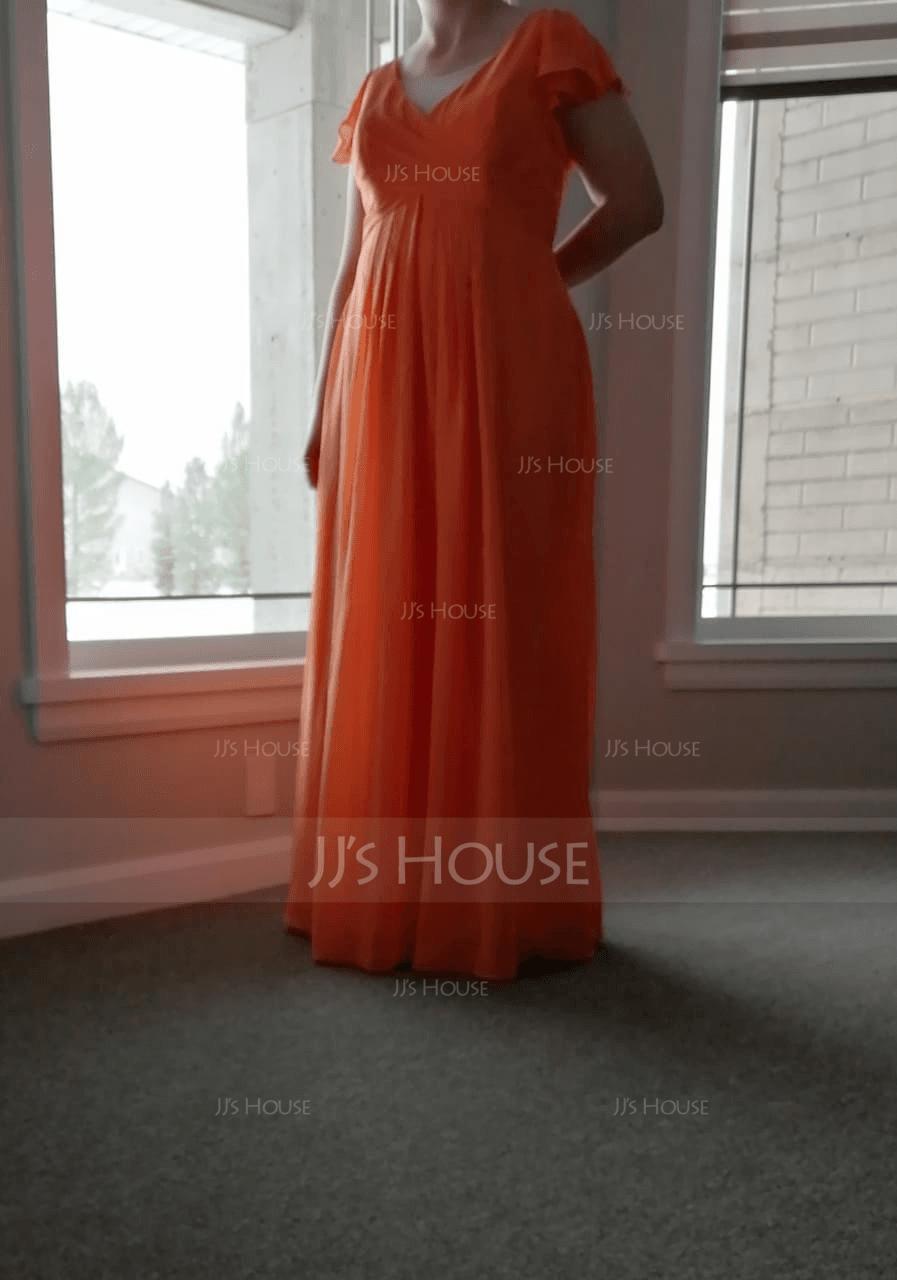 V-Ausschnitt Bodenlang Chiffon Brautjungfernkleid mit Gestufte Rüschen Taschen (266197924)