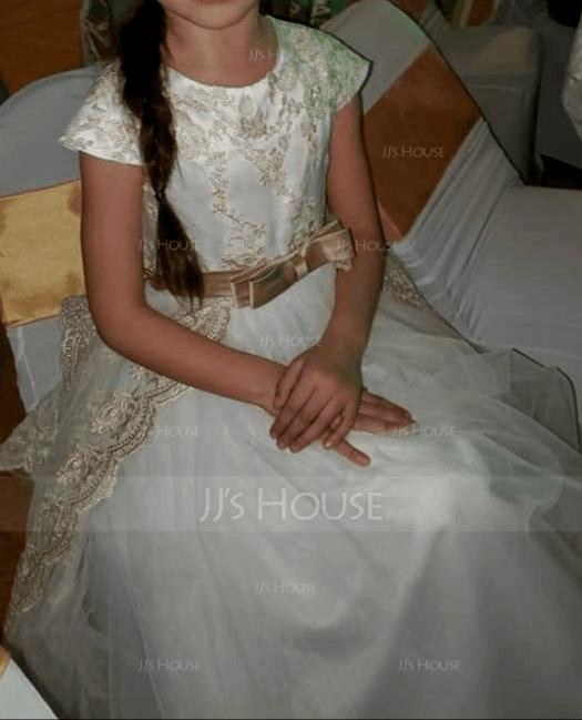 プリンセスライン コート・トレーン フラワーガールのドレス - チュール/レース ショート袖 スクープネック とともに 弓