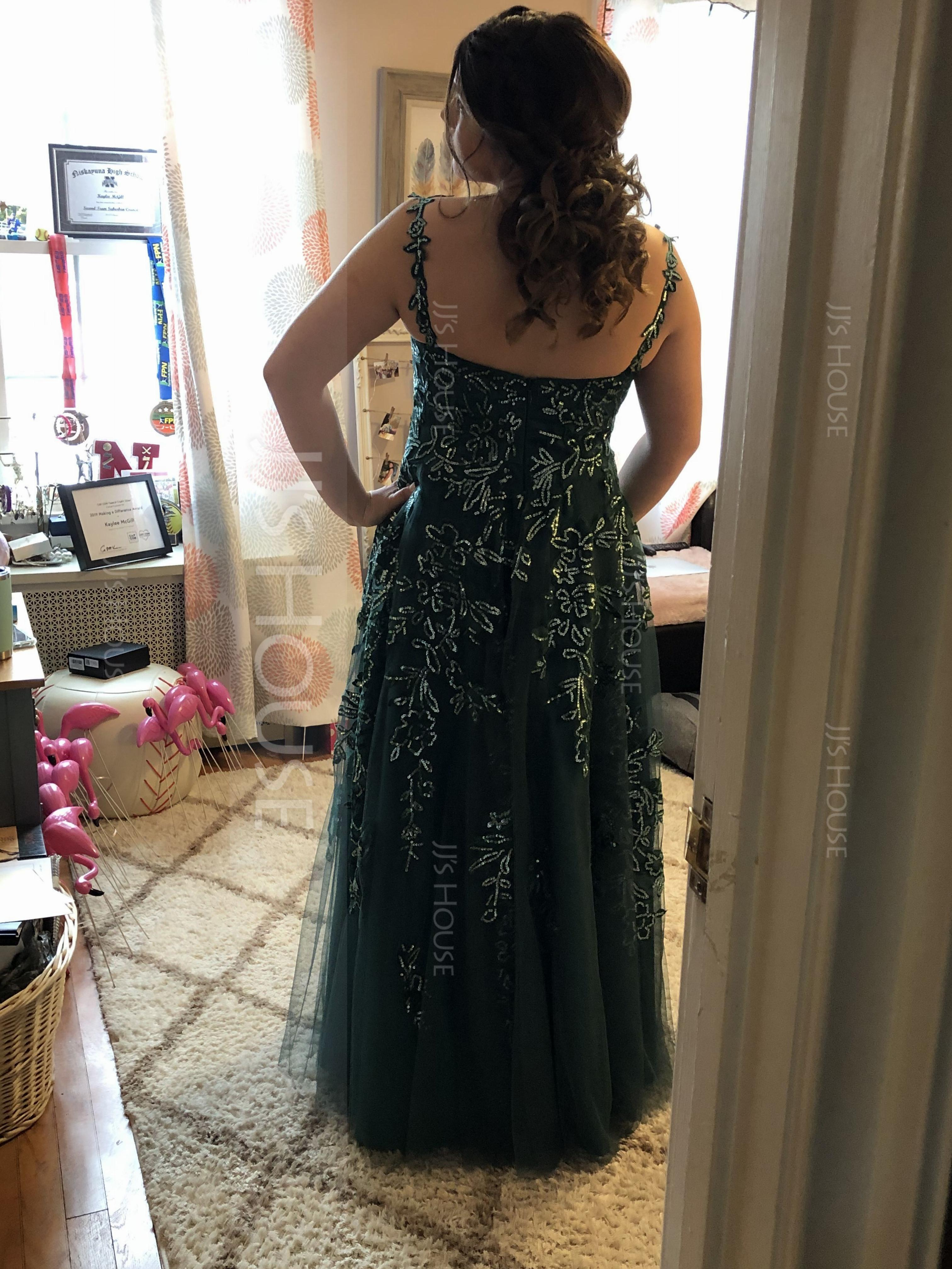 A-Line V-neck Floor-Length Tulle Prom Dresses With Lace Sequins (018175933)