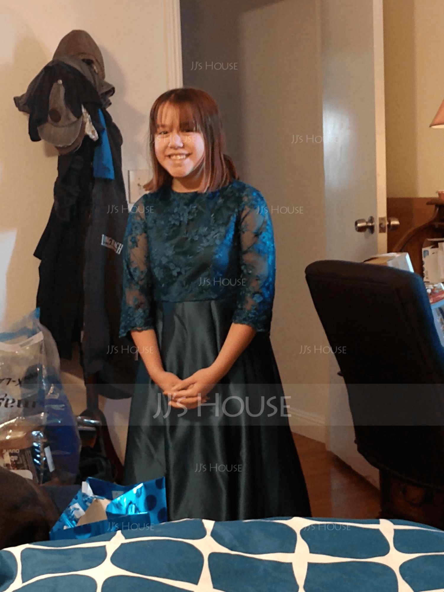 Corte A Escote redondo Asimétrico Satén Encaje Vestido de Damita de honor con Volantes