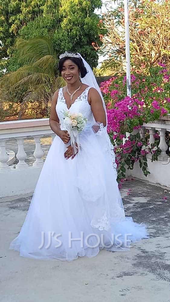 Corte De Baile/Princesa Escote en V Cola corte Tul Vestido de novia