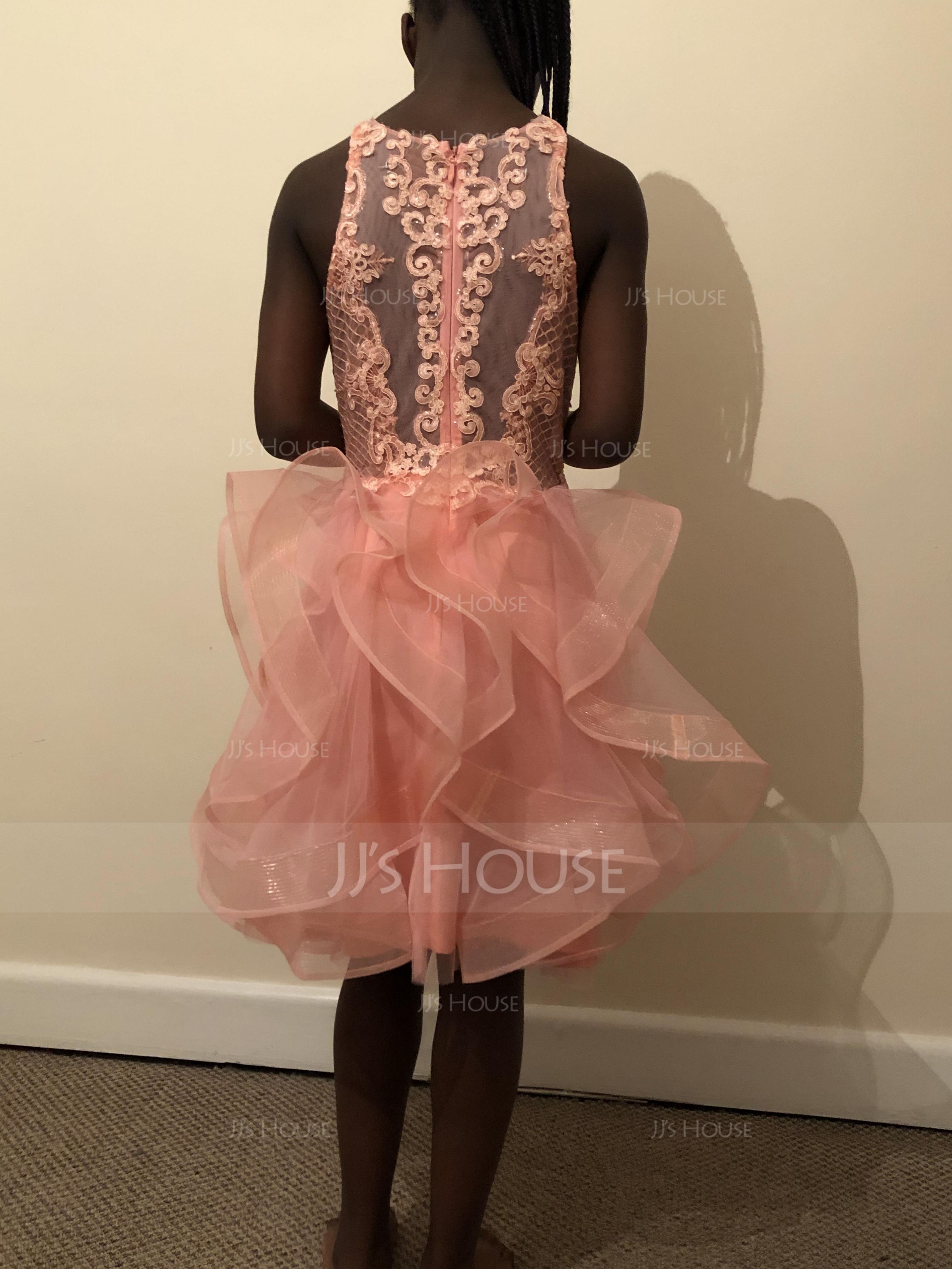 Ball-Gown/Princess Scoop Neck Short/Mini Tulle Homecoming Dress With Sequins (022203137)