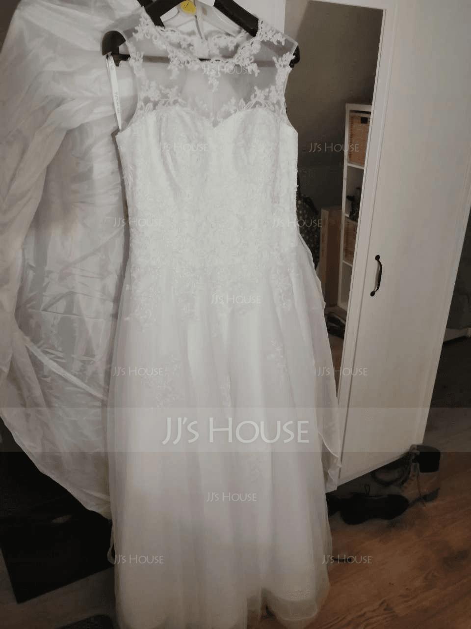 プリンセスライン イリュージョン スウィープ・トレーン オーガンザ チュール ウエディングドレス とともに ビーズ スパンコール