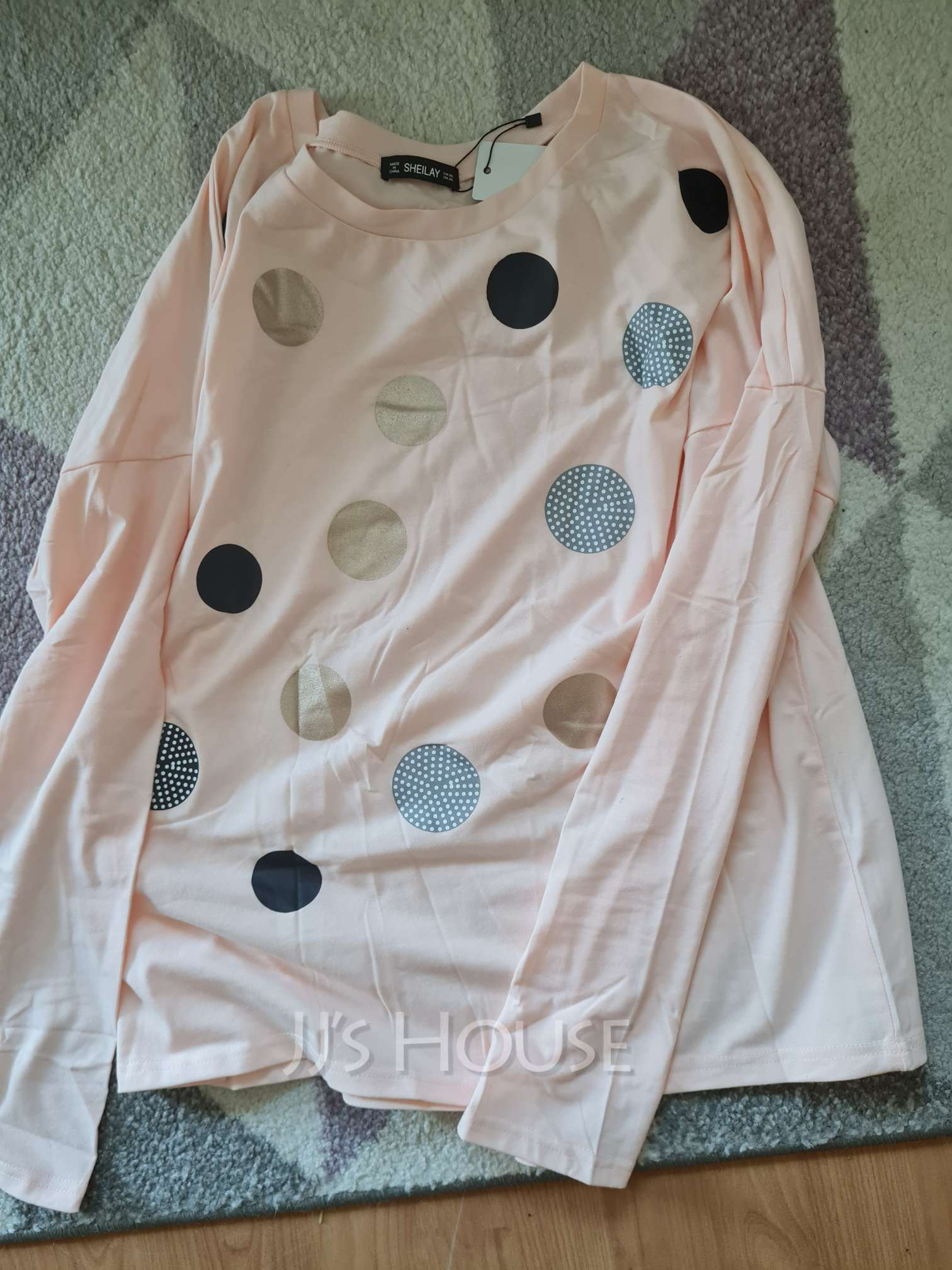 Regular Fitted PolkaDot Casual Long Sleeves