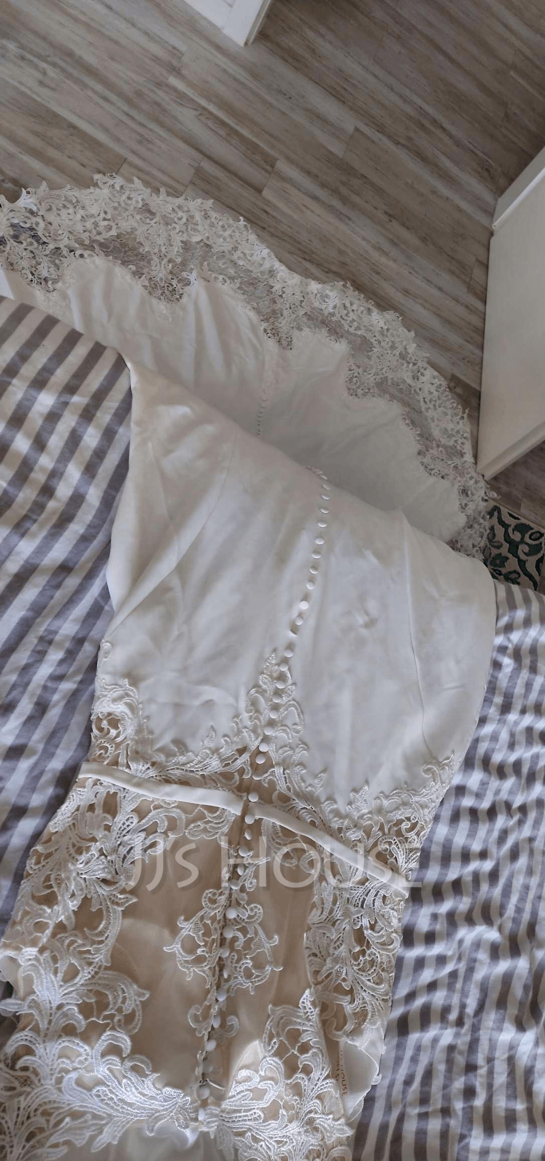 Corte trompeta/sirena Cola corte Crepé Elástico Vestido de novia